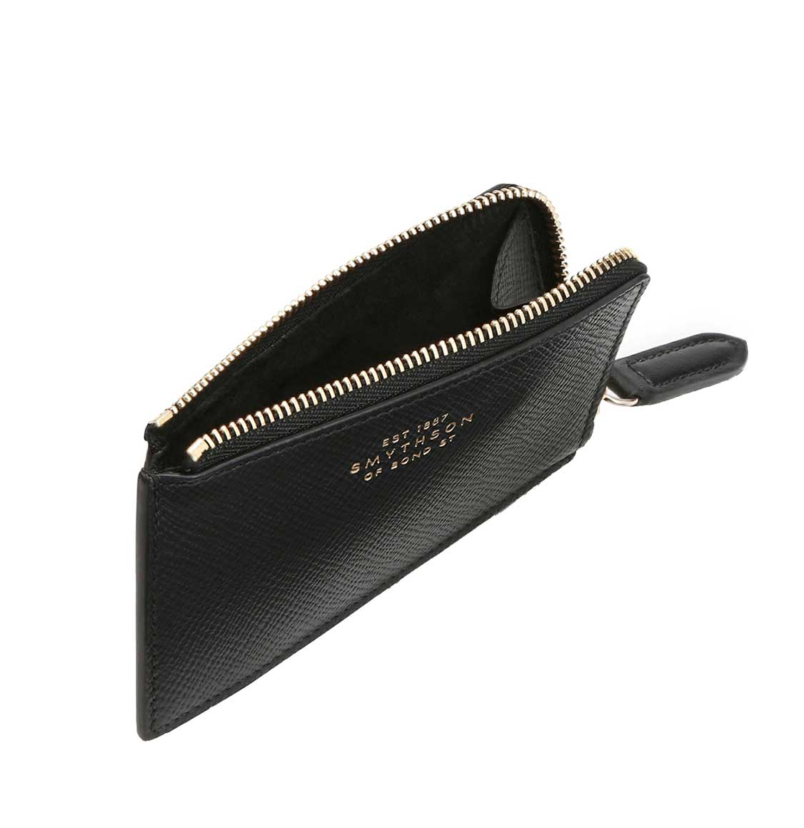 Smythson Panama Cross-Grain Leather Cardholder Coin Purse Black