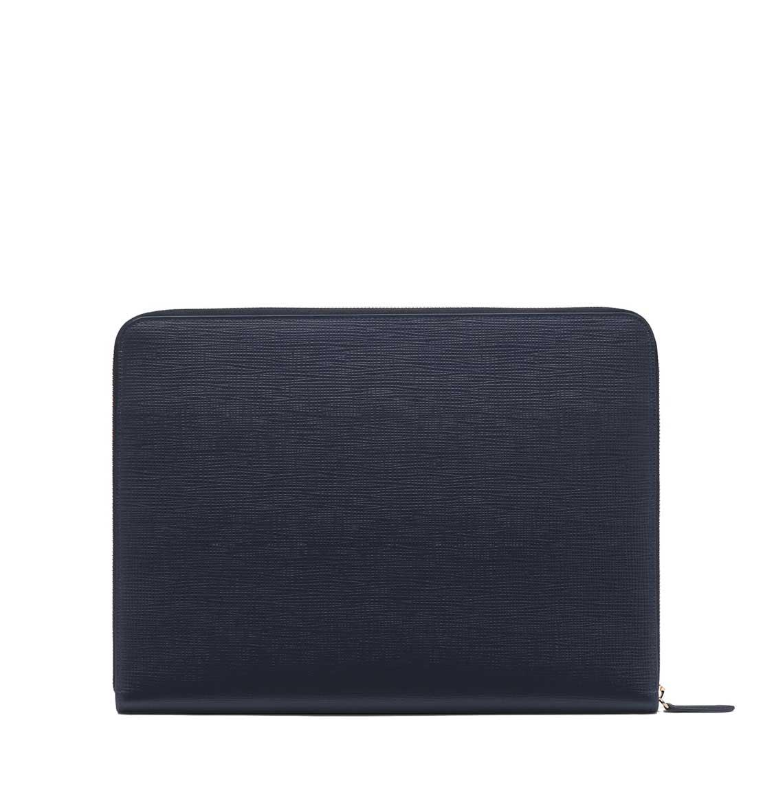 Smythson Panama Cross-Grain Leather Folio With Pocket Deep Blue