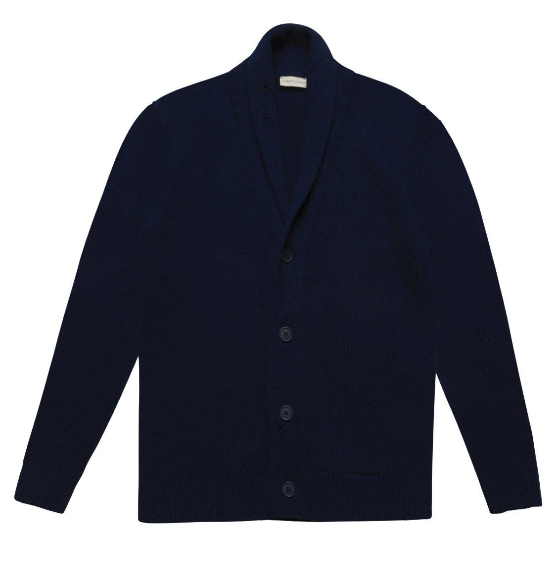 The Project Garments Shawl Collar Distressed Cardigan Virgin Wool Navy