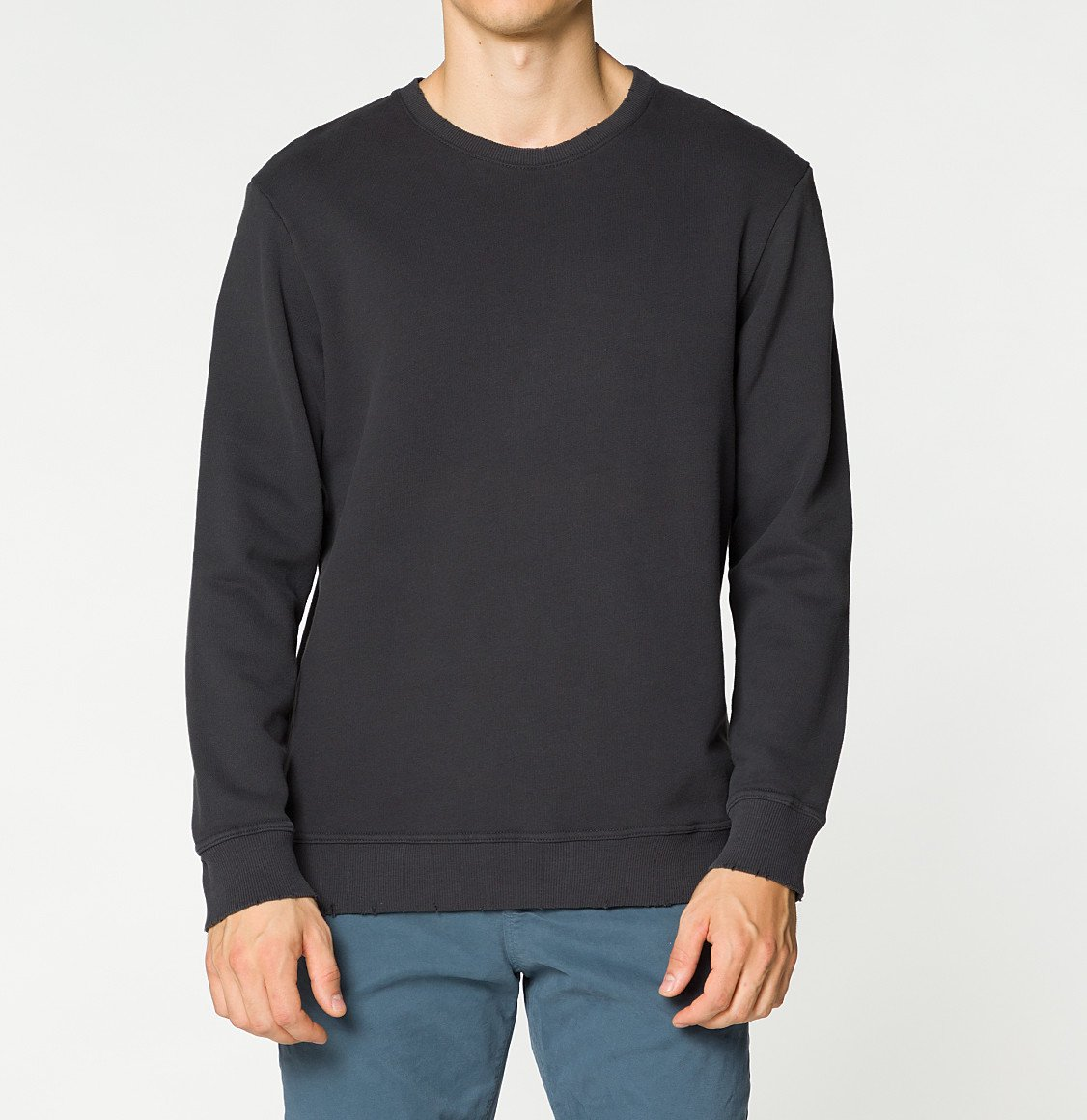 The Project Garments Distressed Crew-Neck Sweatshirt Meteorite Grey