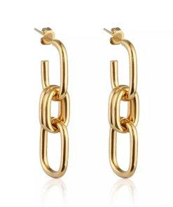 Χρυσά σκουλαρίκια αλυσίδα