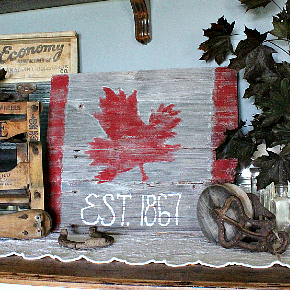 DIY Rustic Maple Leaf Sign for Canada Day, made from Barn Board