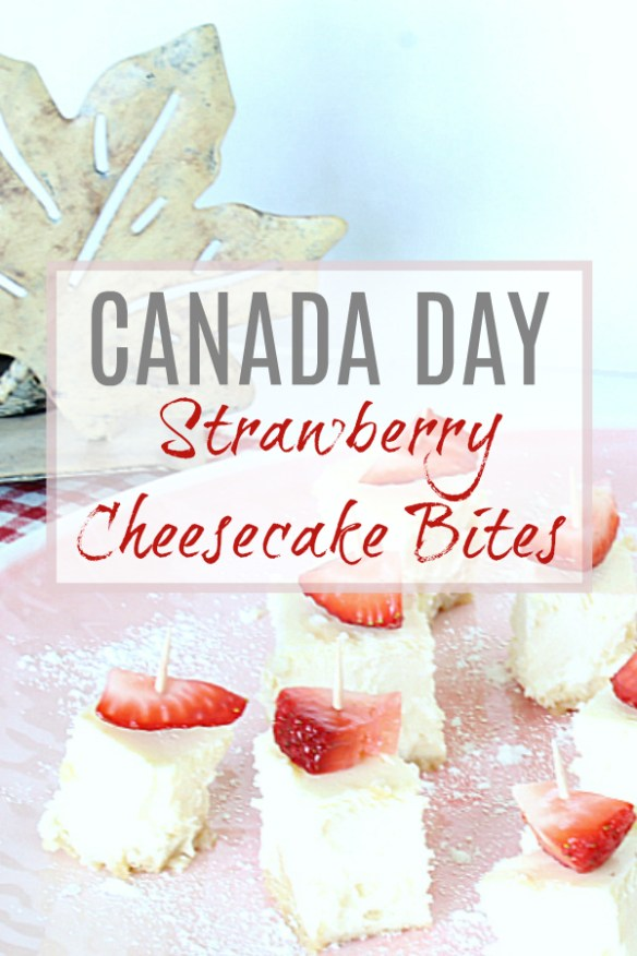 Red and White Strawberry Cheesecake Bites for Canada Day!