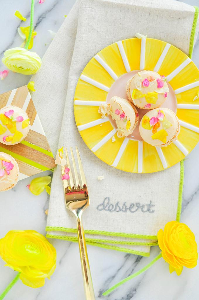 DIY Edible Flower Macarons - PROPER