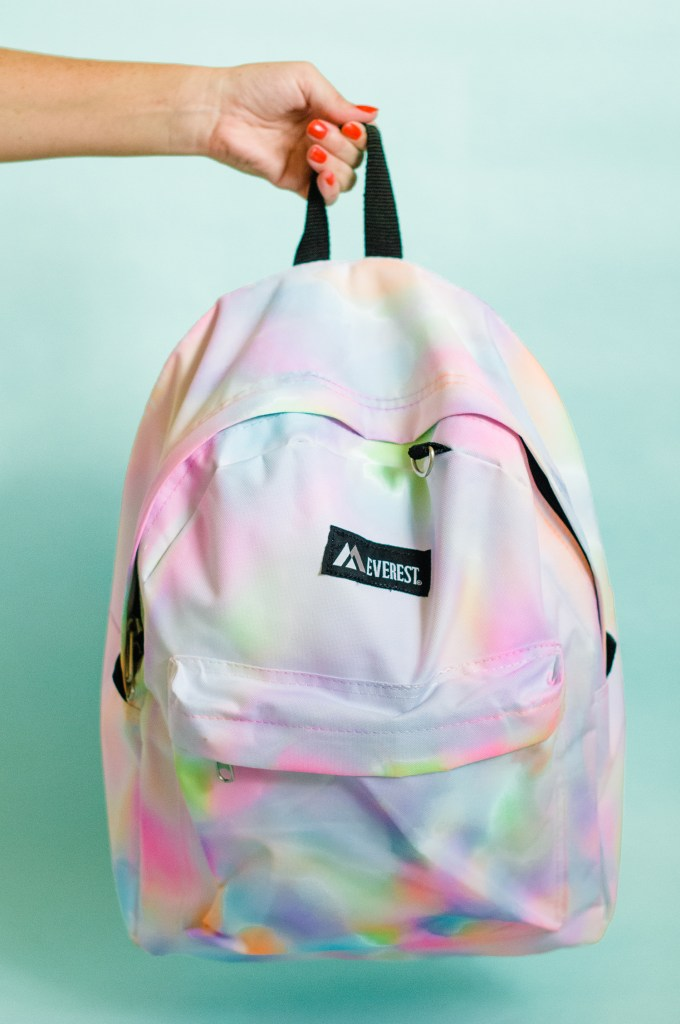 diy rainbow watercolor backpack