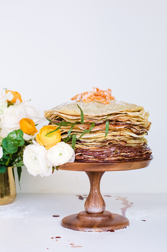Nutella Crepe Cake with Candied Citrus Zest