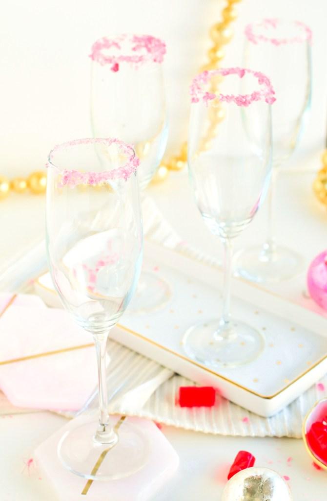 DIY Candied Rim Champagne Flutes