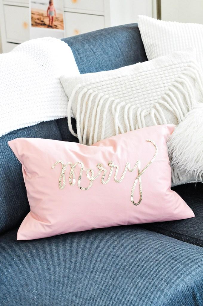 DIY Holiday Sequin Pillows