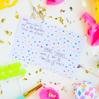 Colorful Party Shipping Label Printable    www.theproperblog.com