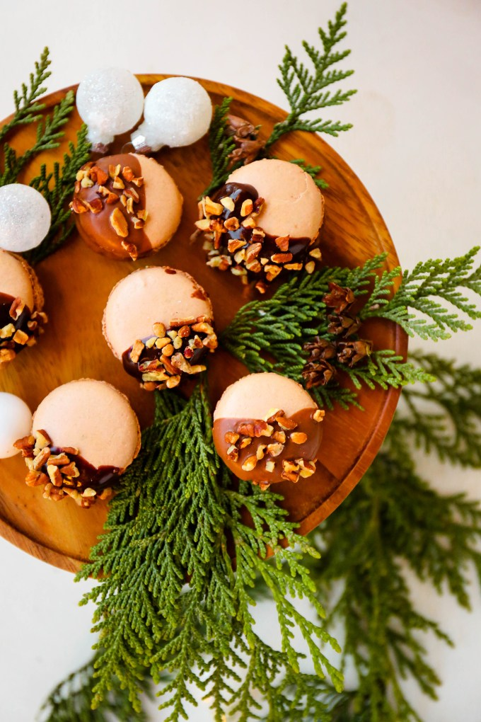 chocolate macarons with chopped pecans