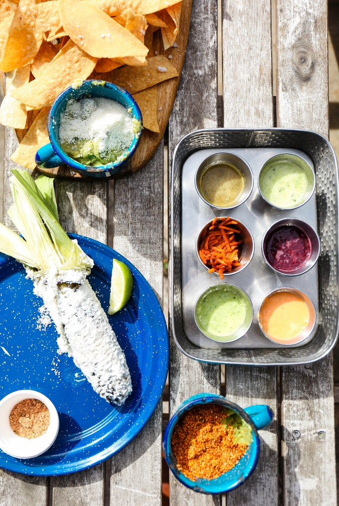 mexican street corn and salsa flight