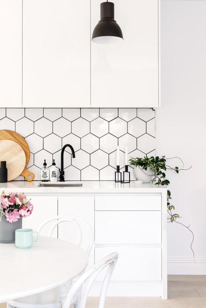gorgeous kitchen backsplash ideas hexagon tile