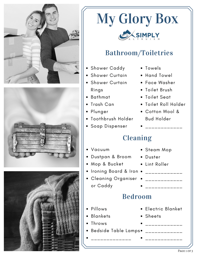 The Property Buyers Guide by Simply Altruism - Glory Box Checklist Page 1 of 3