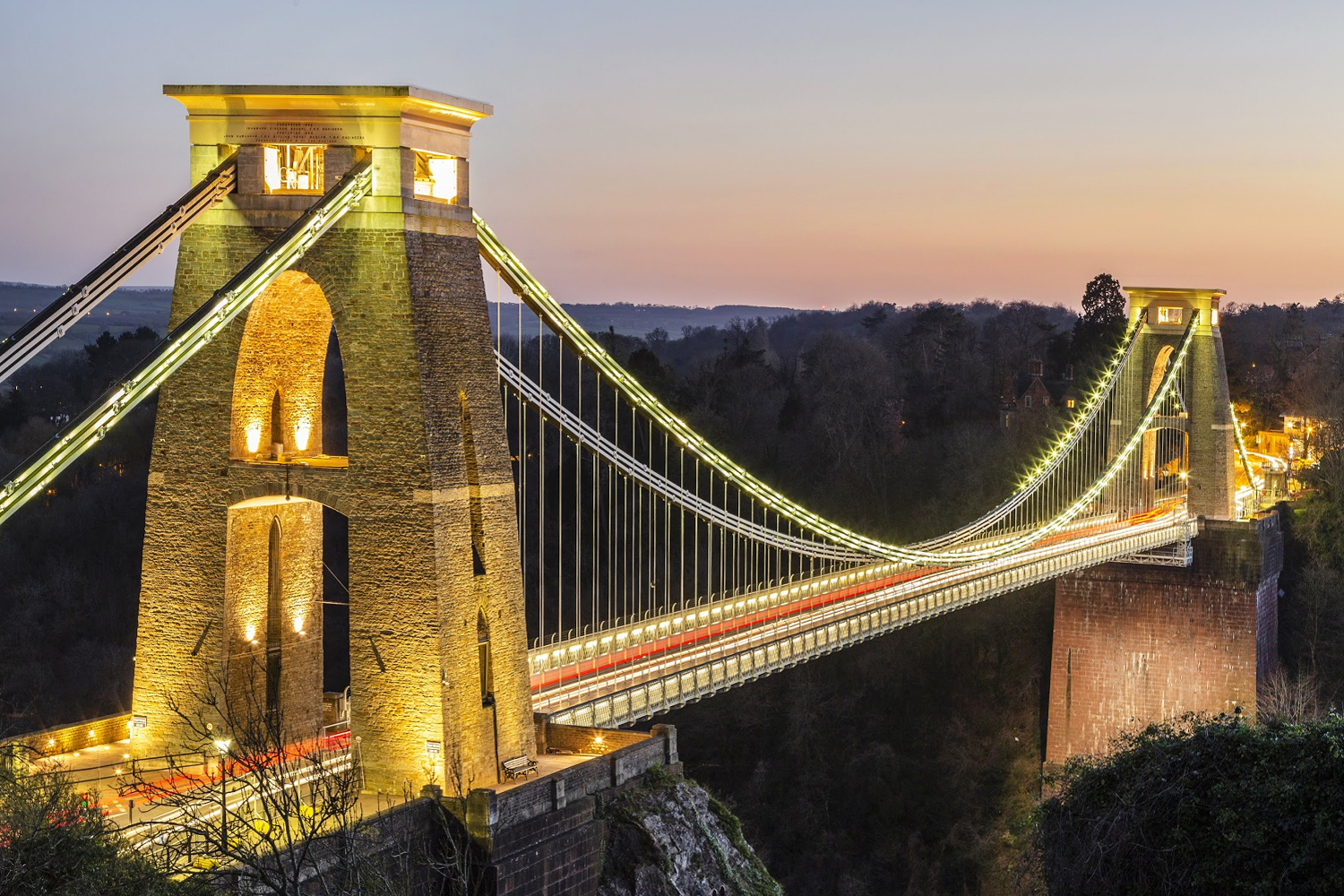 Clifton suspension bridge at night with light trails