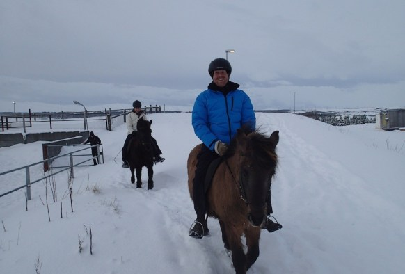 Starting the horse ride in the snow!