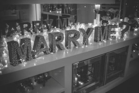 Our hand crafted Marry Me sign!