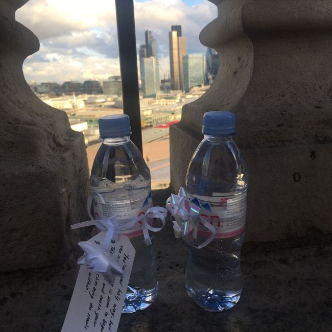 We also made sure to keep the couple well hydrated (there are a lot of steps going up to the top of St Paul's Cathedral!)