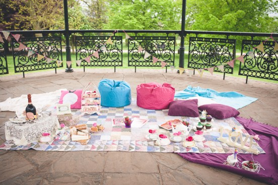 romantic picnic set up in a bandstand