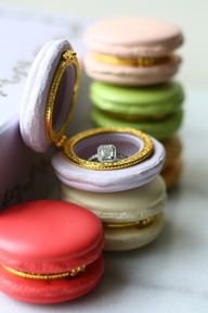 Imagine her surprise when this macaroon is revealed to be a tasty looking ring box