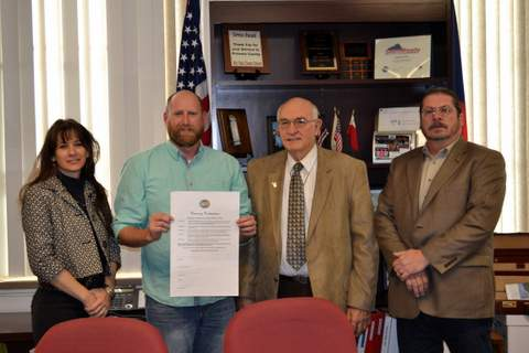 David Harbour of SDS with Prowers County Commissioners