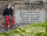Matthew Gurnsey: the Kilted Man to Perform at Lamar Public Library