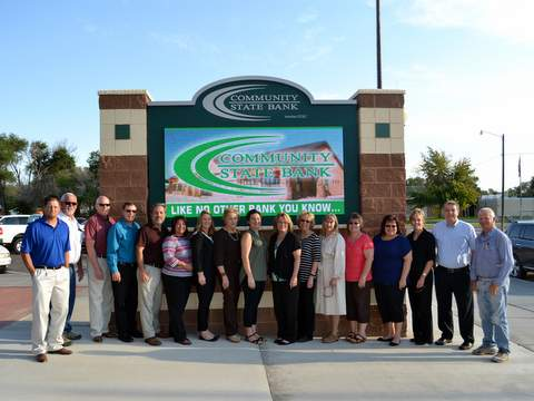 Community State Bank and Parks and Recreation Staff at Sign Dedication