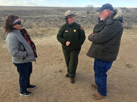 """Park Guide Teri Jobe welcomes visitors to the Sand Creek Massacre NHS"" Photo: NPS/John Launius"
