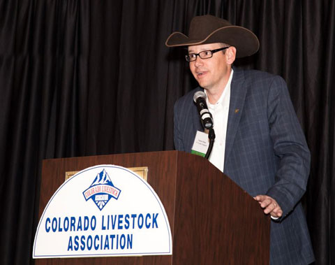 Nolan Stone, CLA President, addresses the membership at the Colorado's Finest Celebration, an annual event held in honor of Colorado's livestock producers and their commitment to providing safe, affordable and wholesome food for the consumer.