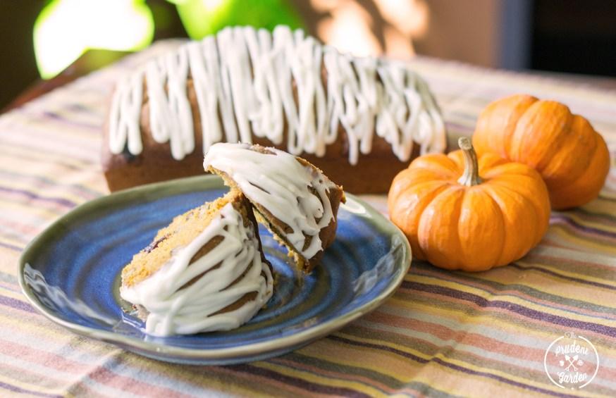 Black Walnut and Cranberry Pumpkin Bread w/ Cream Cheese Glaze