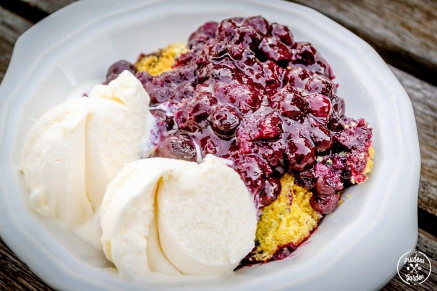 Dutch Oven Cooking: Blueberry Cornbread Cake Cobbler