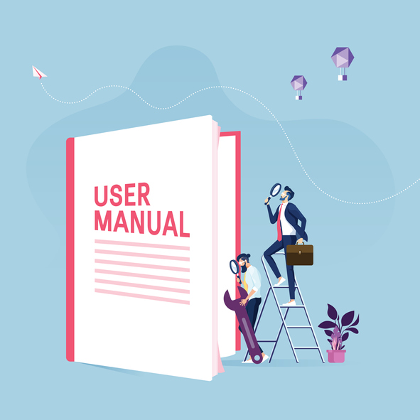 User manual concept-Businessman with guide instruction or textbooks