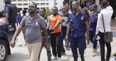 The Togolese rioters in court yesterday