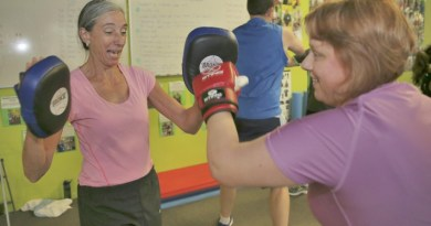 Helen Emmerson and Natalie McDonald get fit.