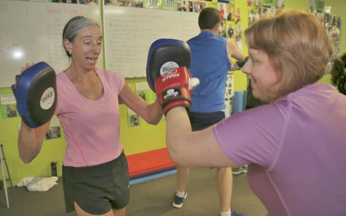 Helen Emmerson and Natalie McDonald get fit.