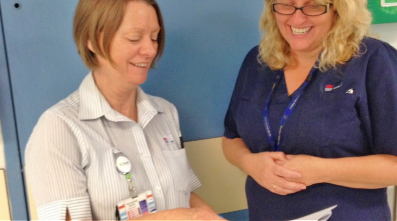 E3c Nurse Unit Manager, Gail Hook with C3c Nurse Unit Manager, Helen Hottes discussing plans for work in their ward areas. Redvelopment