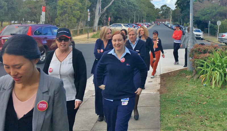 Westmead employees pound the pavement on Walking Wednesday as part of the WSLHD Wellbeing Festival.