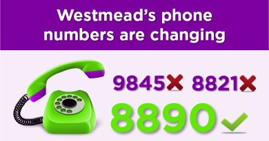 Westmead phone numbers are changing