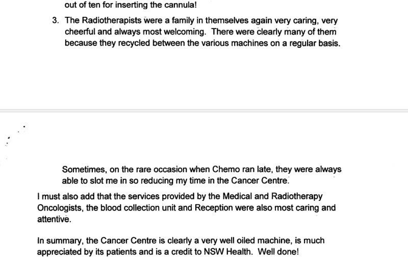 Thankyou letter to Crown Princess Mary Cancer Centre
