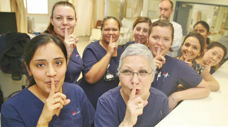 Westmead Hospital's B4b/c are leading the Ssssh! campaign. Pictured: Rose Sarkis, Sharon Holder, Luminita Alecu, Shakiera Bowman, Dr Rajni Lal, Bincy Abraham, Russell Roxburgh, Ana Halatokoua and Lisa Xiao.