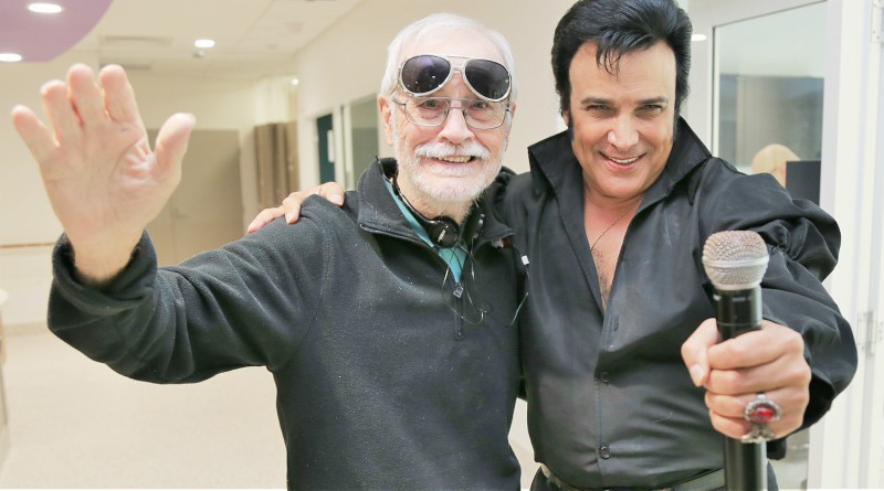 "Elvis impersonator Steve King with patient John ""Sean"" O'Malley, who is part of the Music and memory program, which is a finalist in this year's WSLHD Quality Awards."
