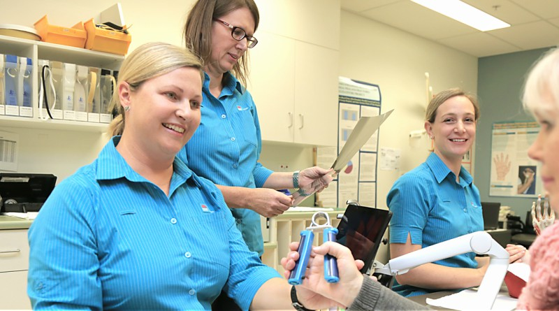 Physiotherapist Kylie Flynn, physiotherapist Tracey Clark and occupational therapist Meredith Rogers, are part of the hand therapy blitz program that is a finalist in this year's WSLHD Quality Awards.