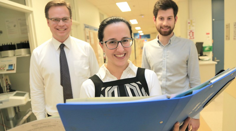 Staff specialist Dr Matthew Watts, pharmacist Antimicrobial Stewardship Program Kristin Xenos, pharmacist Geoffrey Wills, whose Spurring on SPAT program is a finalist in this year's WSLHD Quality Awards.