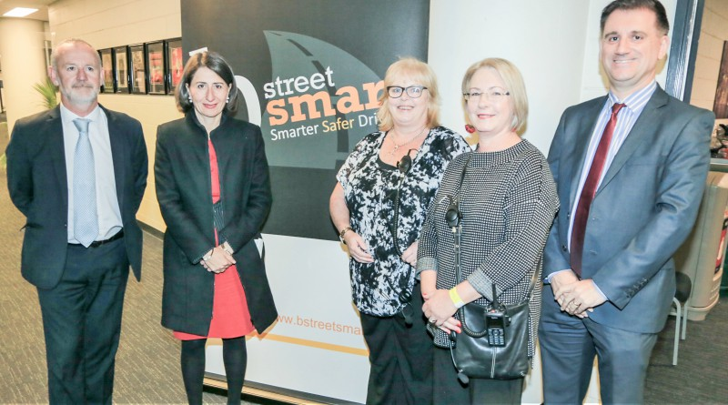 NSW director of the Centre for Road Safety Transport Bernard Carlton, NSW Premier Gladys Berejiklian, Westmead Hospital trauma nurses and bstreetsmart co-founders Stephanie Wilson and Julie Seggie, and Westmead Hospital general manager Andrew Newton.