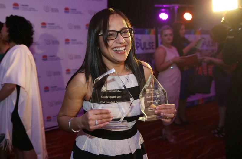 Shalini Balram celebrates at the 2017 Quality Awards.