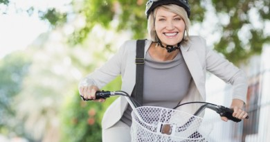 Ride and stride, woman on bike
