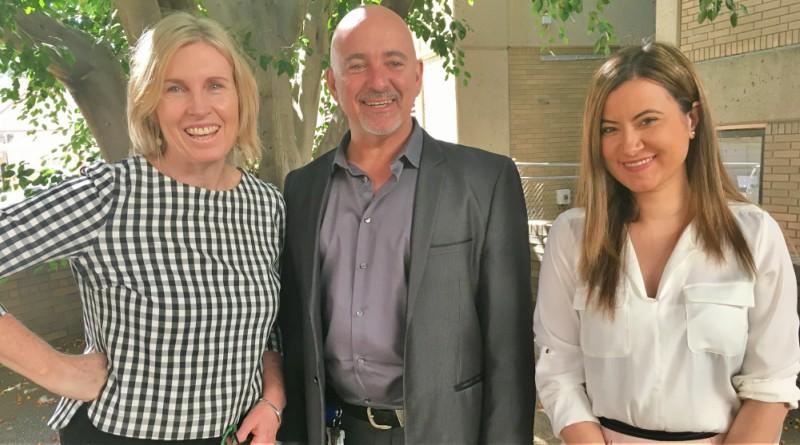 The Corporate Communications Steptember team (minus star stepper Emma Spillett): Annie Markey, Mat Nott and Sia Anthopoulos.