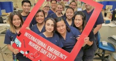 Registered nurses (back) Kareena Pascua, Dino Lacanlale, Anita Chand, Lauren Cole, (front) Olivia Chaker, Alex Sudjai, Samantha Moloney, (front right) endorsed enrolled nurse Ailini Narayan, registered nurse Maria Jimenez, endorsed enrolled nurse Lisa Wilson, registered nurse Rica Tanada and clinical nurse specailist Adam Surey celebrate Interenational Emergency Nurses Day.