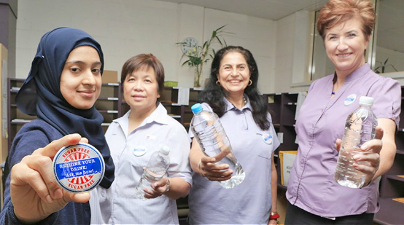 Westmead Hospital's Postal Services staff were early adopters of the Rethink Your Drink campaign. Pictured are Fatima Quadri, Nely Mendoza, Shinder Gill and manager Jude Frazer.