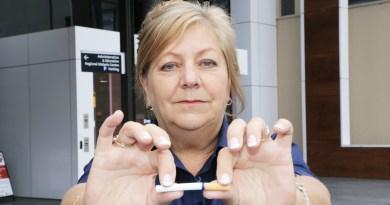 Blacktown Hospital registered nurse with cigarette