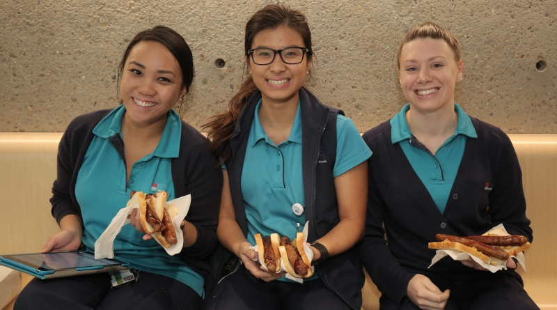 Erica Maqruez, Belinda Lu and Sohpia Melman enjoy barbecue lunch at Westmead.